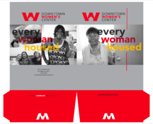 Designed pocket folder for Downtown Women's Center communication materials