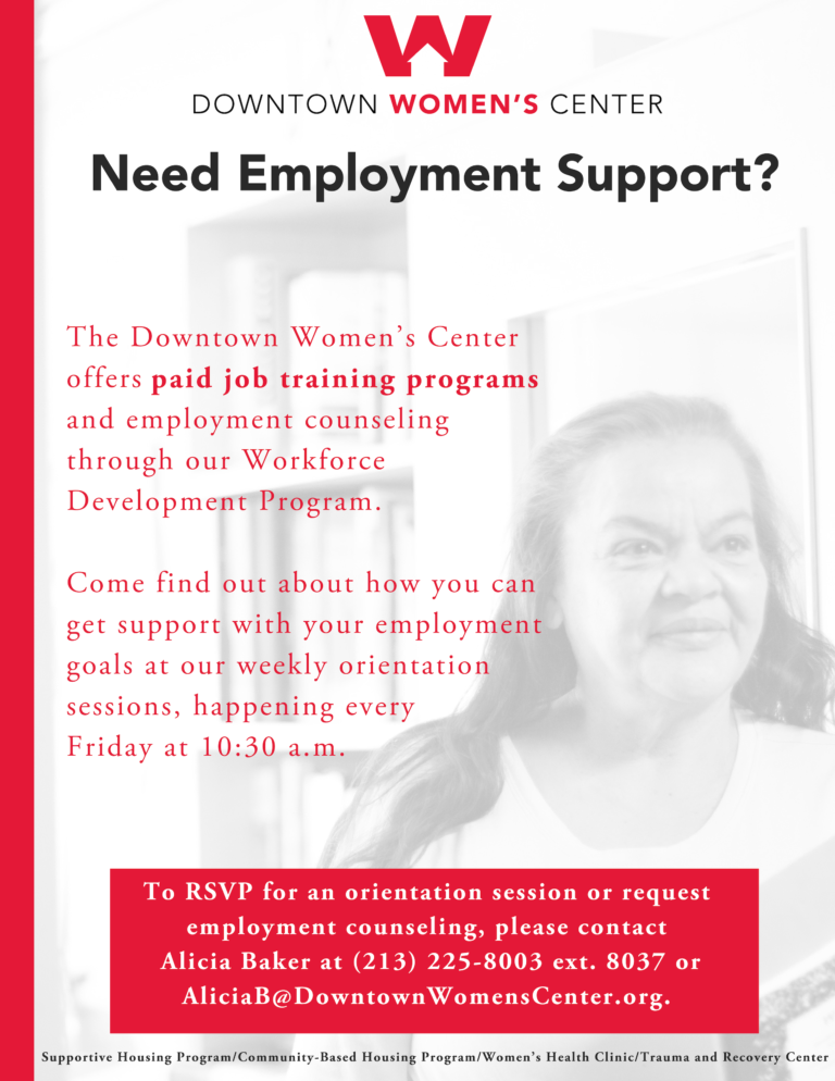 Workforce Development Flyer for Downtown Women's Center